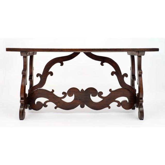 "Wood Antique Spanish Renaissance ""Lyra"" Trestle Table For Sale - Image 7 of 10"