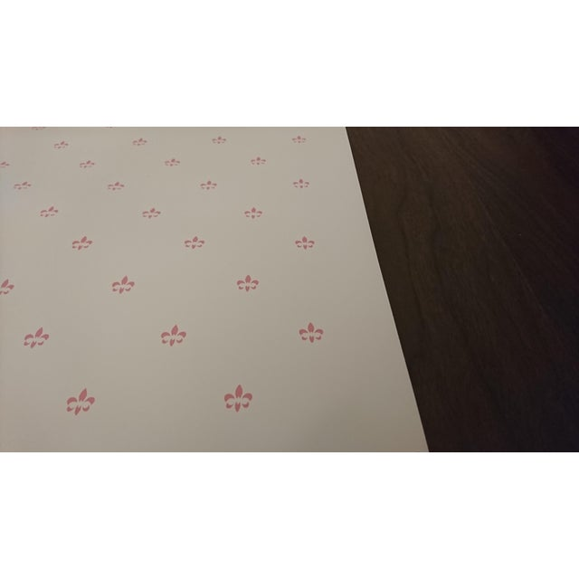 "Ann Dennis ""Simone"" Rose on White 27"" x 5 yd with border we have 5 rolls"