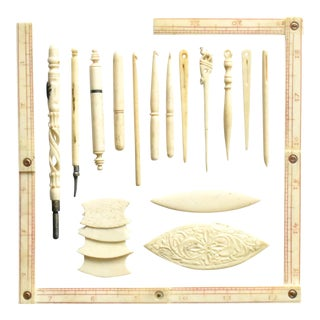 Collection of French Bone and Ivory Sewing Tools - Set of 19 For Sale