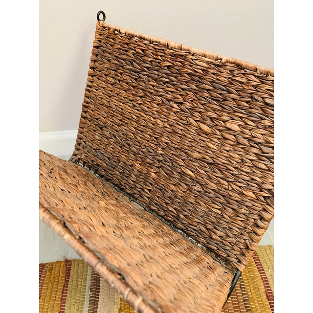 Arthur Umanoff Iron and Wicker Magazine Rack Holder Vintage Mid Century Umanoff Style For Sale - Image 4 of 10