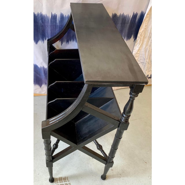 English Vintage Distressed Black Open Storage French Console Table Wood For Sale - Image 3 of 12