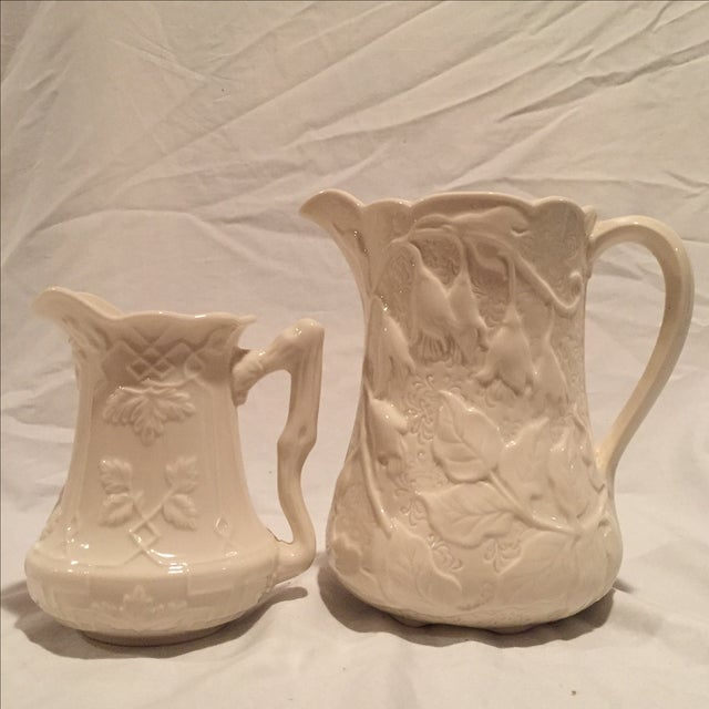 Creme Porcelain Water Pitchers - A Pair - Image 3 of 7