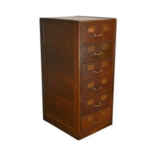 Shaw Walker Antique Oak 6 Drawer File Cabinet For Sale