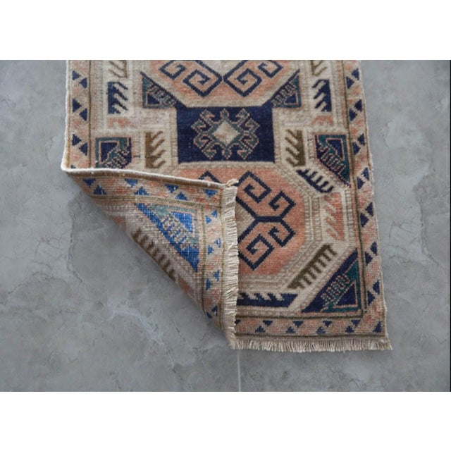1970s Vintage Rug Hand Made Rug- 1′9″ × 3′2″ For Sale In Dallas - Image 6 of 7