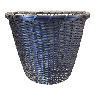 Metal Woven Basket, Late 20th Century For Sale