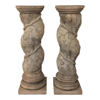 Pair 19th Century Barley Twist Stripped Pedestals For Sale