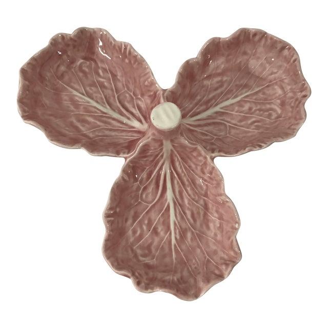 Pink Porcelain Lettuce Leaf Dish For Sale