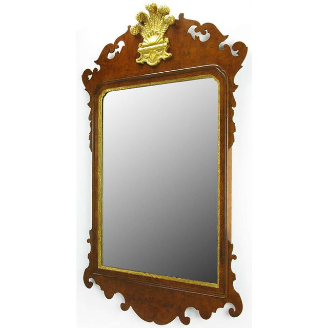 Chippendale mirror in burled walnut with gold leaf plume and interior border, by fine antique reproductionists,...