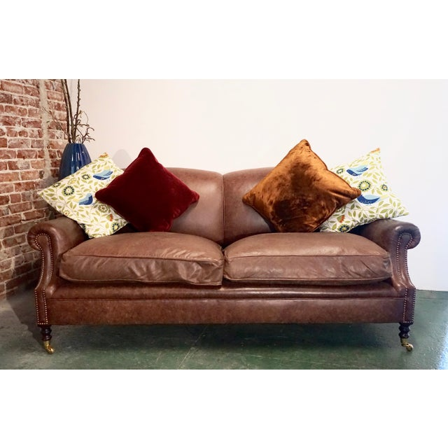 """George Smith Modern George Smith 70"""" Chocolate Brown Leather Three Seater Sofa For Sale - Image 4 of 11"""