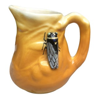 Majolica Pitcher With Cicada and Olives Sicard, Circa 1950 For Sale