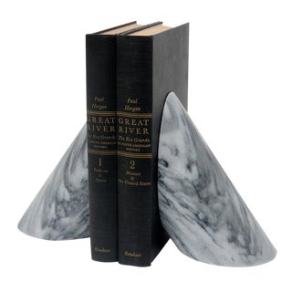 Cloud Gray Marbled Bookends - a Pair