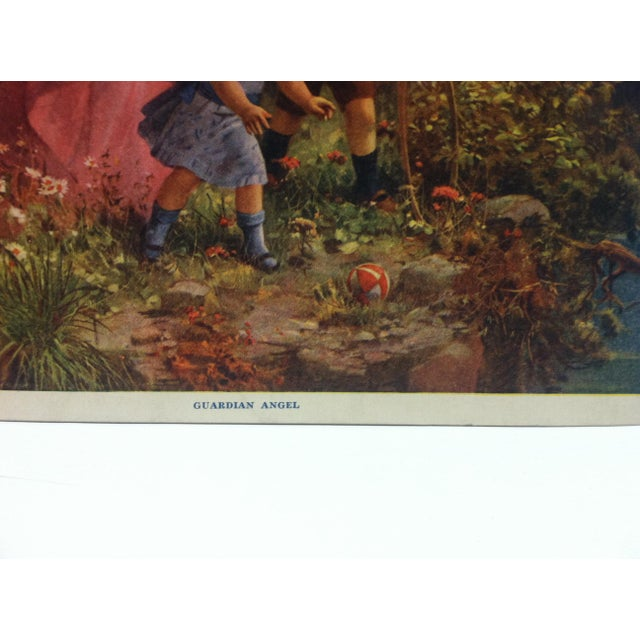 """American Vintage Color Print, """"Guardian Angel"""" -- w.c. Company Tyrone, Pa For Sale - Image 3 of 5"""