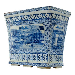 Chinoiserie Blue & White Hexagonal Jardiniere For Sale