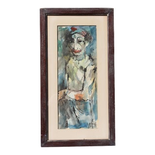 "Vintage Mid-Century ""Instinctively Signed"" Clown Painting For Sale"