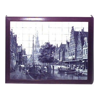 Dutch '19th Century' Monumental Size Wood Framed Wall Plaque For Sale