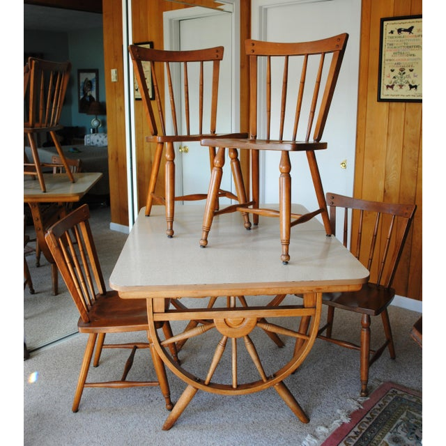 Americana 1950's Southwestern Baumritter Ethan Allan Wagon Wheel Dining Set - 5 Pieces For Sale - Image 3 of 13
