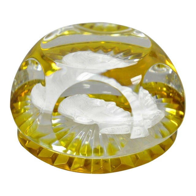 1960s Vintage Baccarat Sulphide Paperweight For Sale