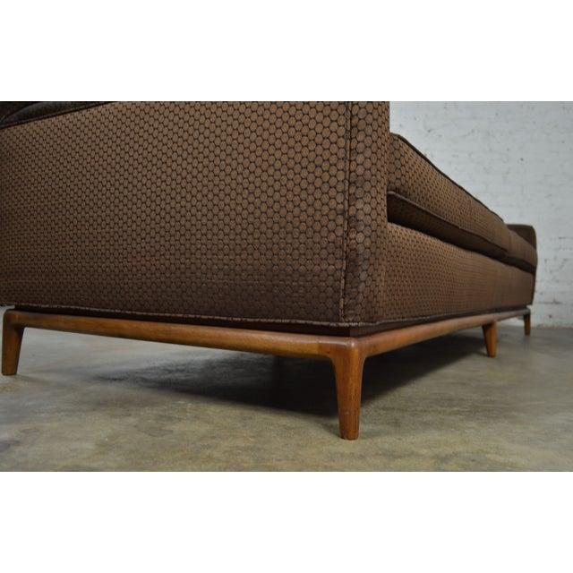 Mid-Century Tufted Tuxedo Sofa on Walnut Base - Image 9 of 10