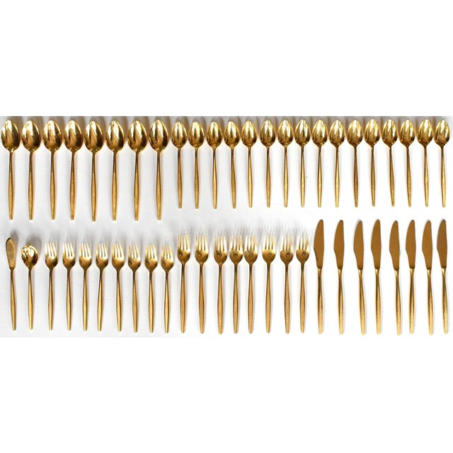 1960s Mid-Century Modern Gold Flatware Service for 8 - 50 Pieces Set For Sale - Image 11 of 11