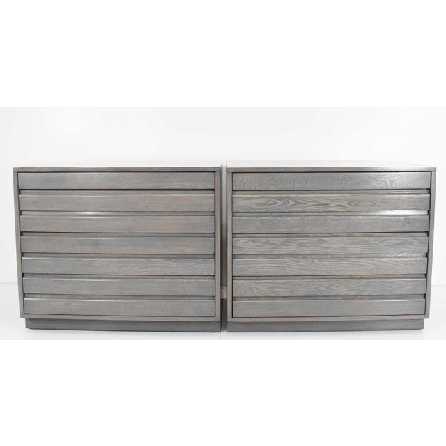 1970s Mid Century Grey Stained Chests - a Pair For Sale - Image 10 of 10