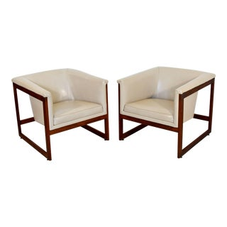 1970s Mid-Century Modern Milo Baughman Floating Cube Walnut Lounge Chairs - a Pair