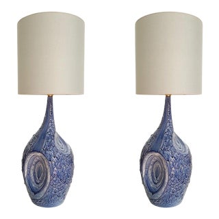 Mediterranean Signed Blue & White Ceramic Lamps, Italy - a Pair For Sale
