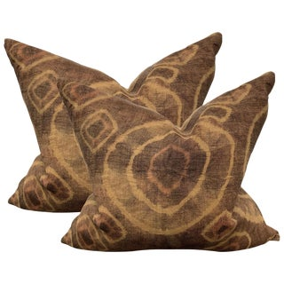 Pair of Mid-20th Century Kuba Cloth Pillows For Sale