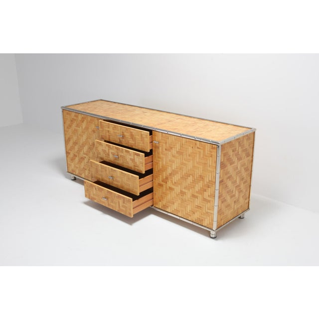1970s Bamboo Credenza With Faux Bamboo Chrome Frame Gabriella Crespi Style - 1970s For Sale - Image 5 of 10