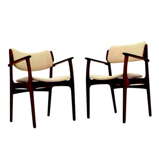 Pair of Two Danish Mid-Century Modern Arm Dining Chairs For Sale