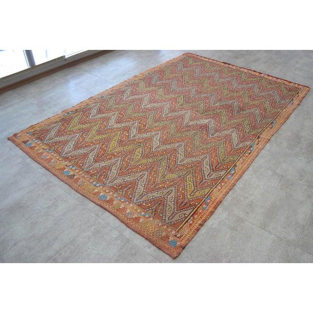 "Antique Turkish Kilim Rug Hand Woven Wool Jajim Braided Area Rug - 5'6"" X 8'3"" For Sale - Image 4 of 10"