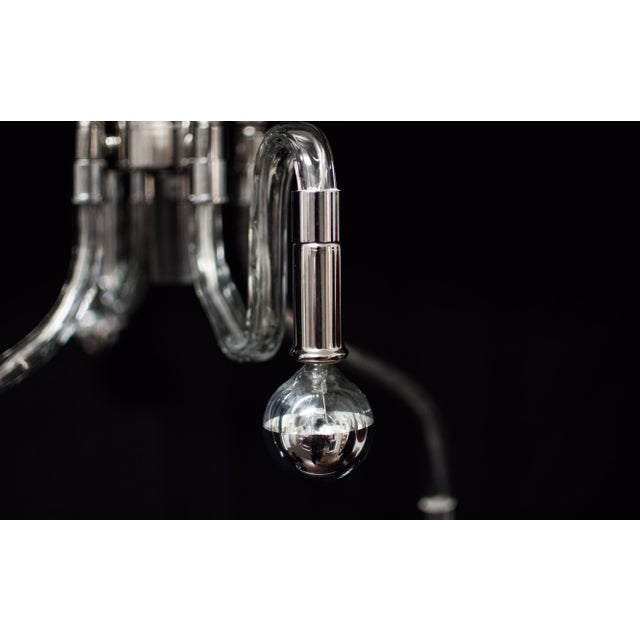 Inverted Four Arms Glass Chandelier With Nickel - Image 5 of 10