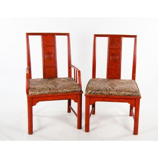 Early 20th Century Vintage Thomasville Chinese Style Red Lacquer and Upholstered Dining Chairs - Set of 6 Preview