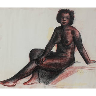 Clyde Follett Seavey Seated Female Nude in Charcoal, Circa 1930s Circa 1930s For Sale