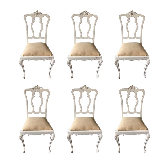 Set of Six Vintage French Chairs For Sale