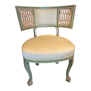 Green Painted Single Chair With Cream Upholstery For Sale