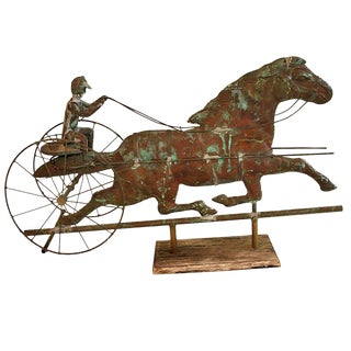 19th Century Weathervane Horse and Gentleman For Sale