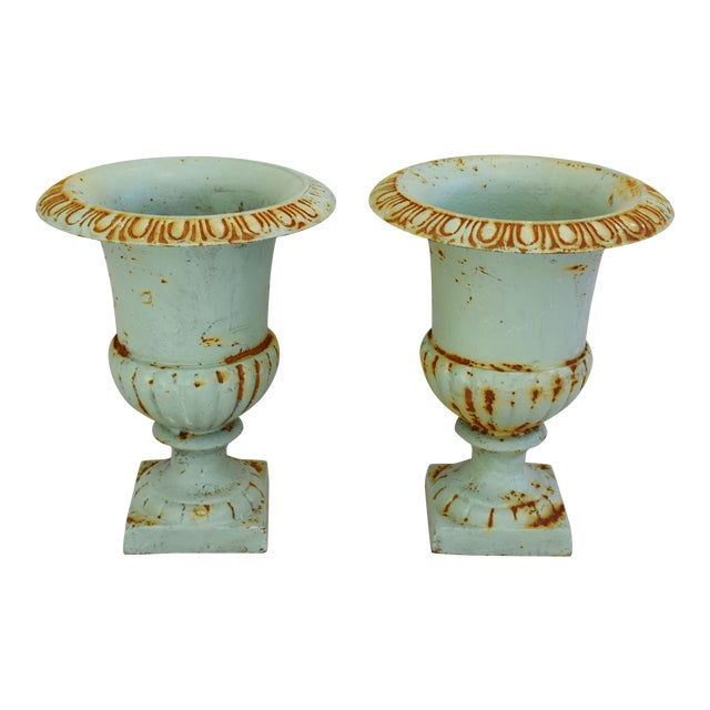 Vintage Teal/Blue Cast Iron Urn Planters - Pair For Sale