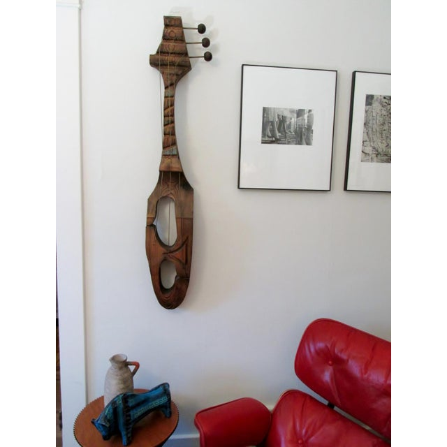 Mid-Century Witco Wilrongo Tiki Modern Wood Guitar Wall Sculpture - Image 4 of 10