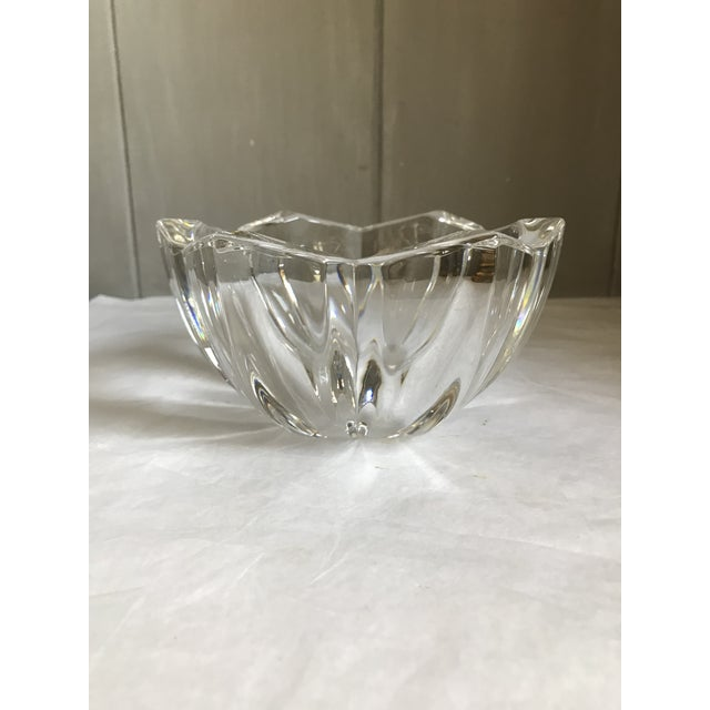 Art Deco Vintage Heavy Thick Crystal Lotus Flower Candy/Dish For Sale - Image 3 of 9