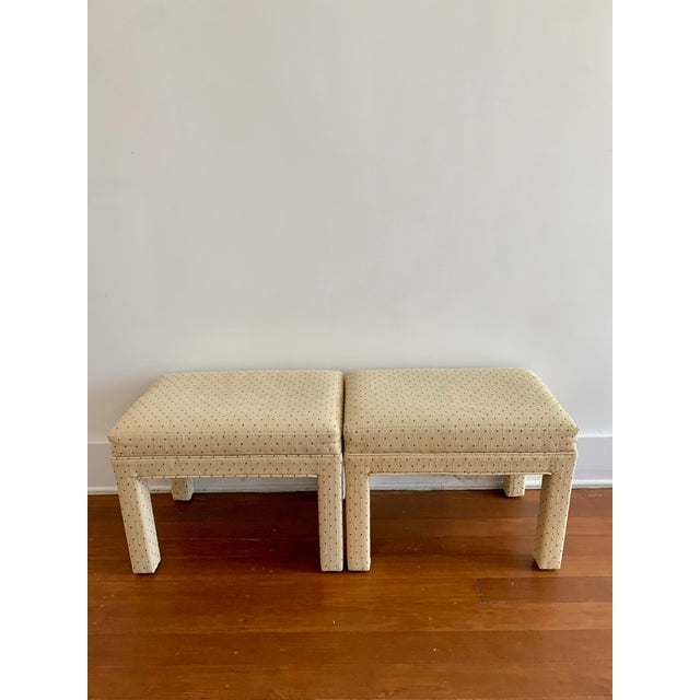 Parsons Style Polka Dot Upholstered Bench - One Available For Sale - Image 9 of 10