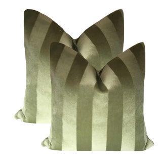 Art Deco Tone on Tone Mohair Pillows - a Pair For Sale