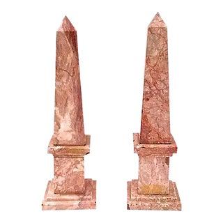 Vintage Pink Marble Obelisks - A Pair