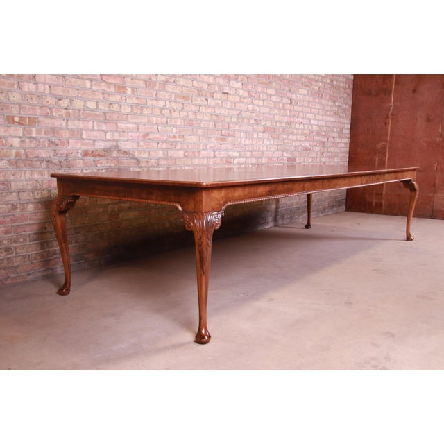 Baker Furniture Company Baker Furniture Stately Homes Queen Anne Inlaid Walnut Extension Dining Table, Newly Refinished For Sale - Image 4 of 13