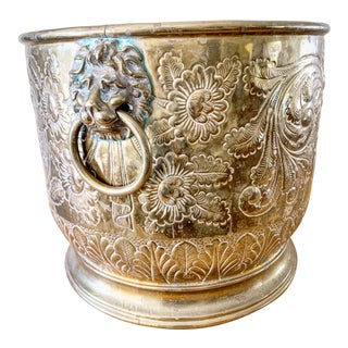 Large Vintage Asian Chinoiserie Lion Brass Planter For Sale