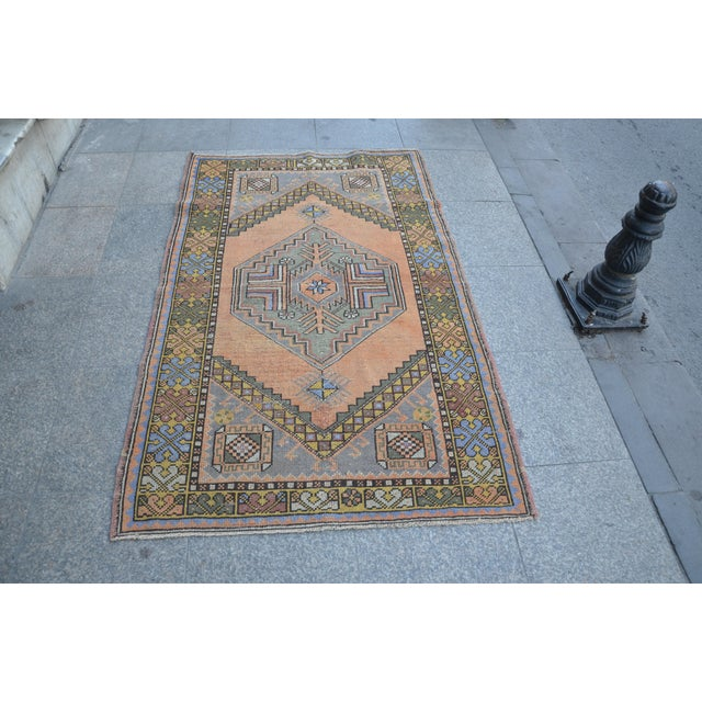 Turkish Oushak Antique Wool Rug - 3′6″ × 5′6″ For Sale - Image 11 of 11