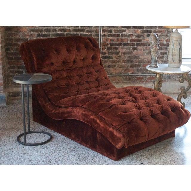 Mid-Century Custom Tufted Brown Velvet Chaise - Image 5 of 8