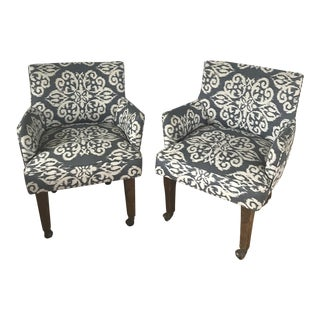 Custom Upholstered Chairs on Casters - A Pair