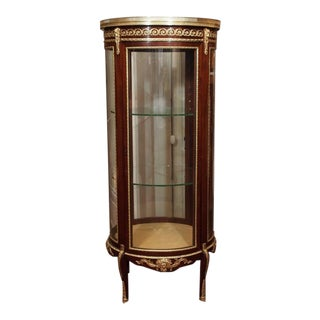 Antique French Mahogany Display Cabinet with Bronze Trim, circa 1890 For Sale