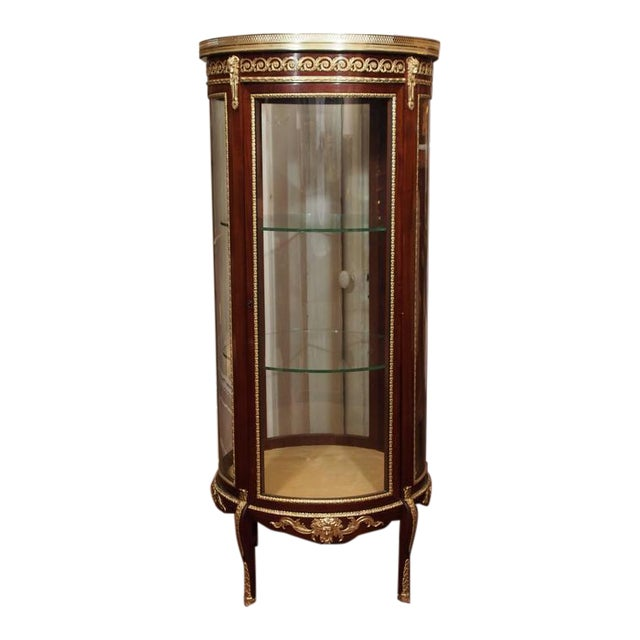 Antique French Mahogany Display Cabinet with Bronze Trim, circa 1890 For  Sale - Exquisite Antique French Mahogany Display Cabinet With Bronze Trim