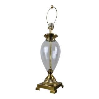 Frederick Cooper Ribbed Glass & Brass Urn Table Lamp For Sale